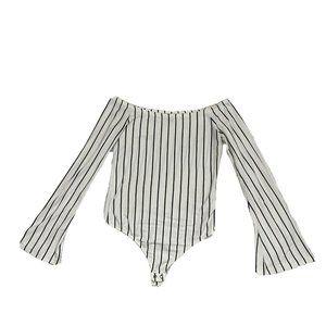 Express Small Bodysuit Stripe Off Shoulder Bell Sl